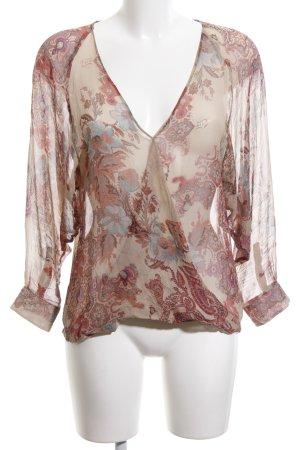 Sienna Transparante blouse nude-rood bloemenprint casual uitstraling