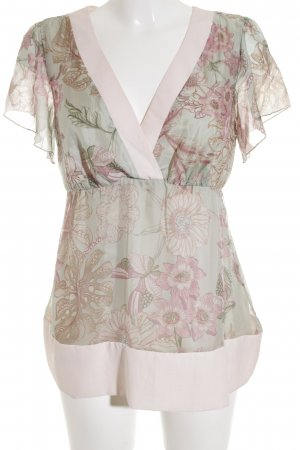 Sienna V-hals shirt bloemen patroon nude uitstraling