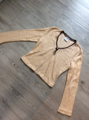Pull col en V brun sable-marron clair