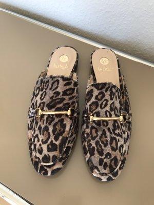 Sigrun Wöhr La Strada Loafer Slipper Pantolette Leo Leopardenmuster Gr. 38 NEU!