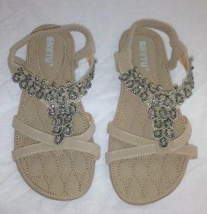 Sandalias de tiras color plata-marrón claro