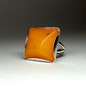 Bague en argent argenté-orange doré
