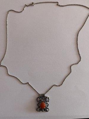 Silber 835 Trachten Kette mit echten Lachskorallen Anhänger