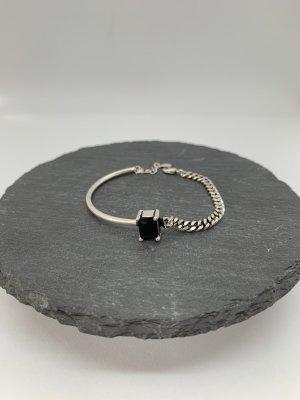 Braccialetto sottile nero-argento