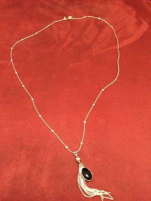 Silber 925 Halskette mit Acaht Stein und Silber 925 Anhänger, Handarbeit, Top!