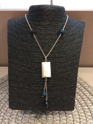 Silber 925 Halskette mit Acaht Steinen und Silber 925 Anhänger, Handarbeit, Top!