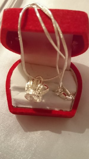 Silber 925 Halskette mit Krone Anhänger