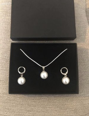 Silber 925 Kette mit Anhänger und Perlen Ohrringen Neu mit Verpackung