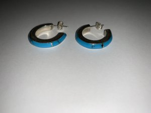 Silber 925 México Ohrstecker mit blauen Stein