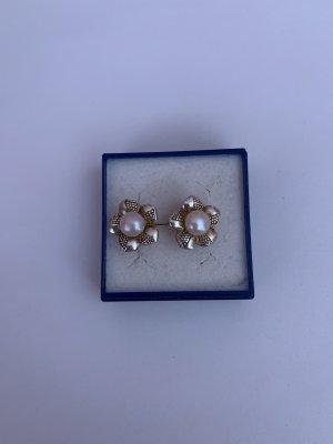 Silber 925 Ohrstecker vergoldet mit echter Perle