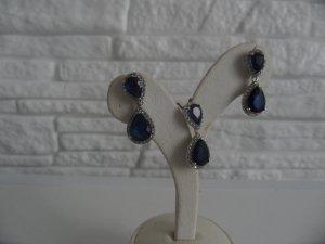 Silber 925 Rod.Set Ohrringe mit Anhänger Mit Safir und Zirkonia Steine