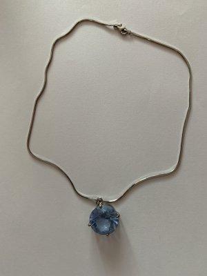 Silber 925 Schlangen Kette mit blauen Topas Stein Anhänger