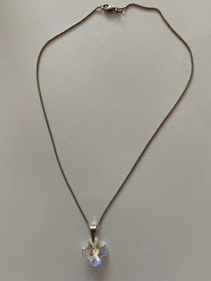 Silber 925 Schlangen Kette mit Silber 925 (Öse) Swarovski Kristall Kreuz Anhänger