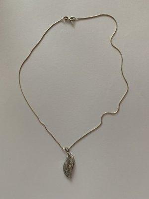 Silber 925 Schlangen Kette mit Silber Zirkonia Anhänger Blatt Motiv