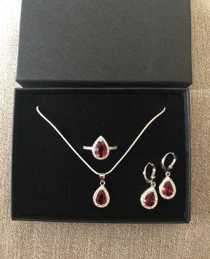 Anello d'argento argento-rosso scuro