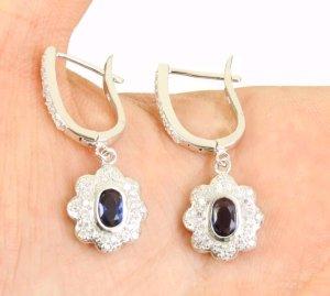 Silber 925er Ohrringe bestückt mit sher schönen blauem Saphir