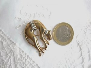 Brooch silver-colored-gold-colored real silver