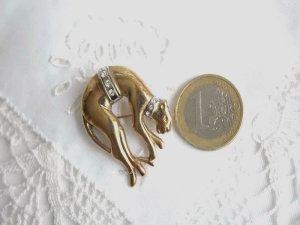Silber Brosche vergoldet Panther Strass Brosche