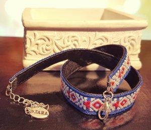 Silber Choker, Stoffkette, blau schwarz rot weiß, Muster, Blogger, Zara, Neu