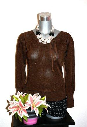 Silber Glitter Pullover Shirt Gr. 36 Braun Edel Design