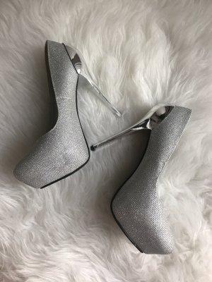 Silber Glitzer High Heels - Größe 37