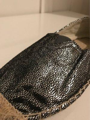 Espadrille sandalen zilver-zwart