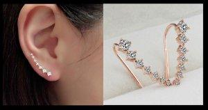 Silber Gold Strass Kristall Piercing Ohr Ohrringe