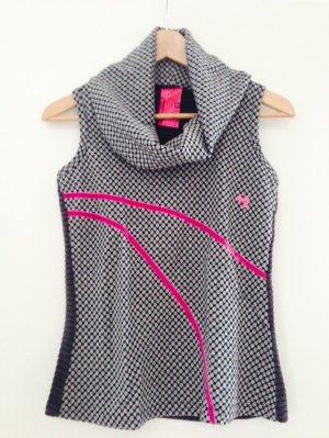 Silber-grauer Pullunder mit neon-pinkem Muster