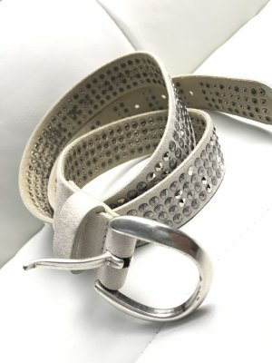Jones Studded Belt light grey-silver-colored leather
