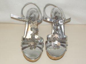 Plateauzool sandalen zilver Imitatie leer