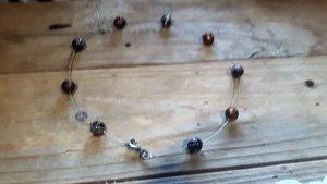 Silber-Kette mit braunen Perlen von Dawanda