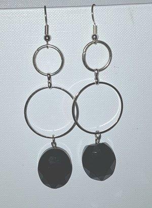 Silber-Kreolen mit Schwarzem Glasschliff-Stein (selbstgemacht)