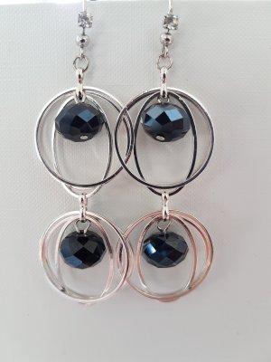 Silber-Kreolen mit Schwarzen Glasschliff-Steinen (selbstgemacht)
