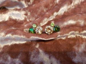 Silber Ohrringe grüner Strass
