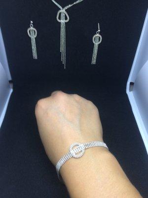 Silber Ohrringe mit Halskette & Armreifen