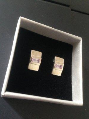 Silber Ohrringe von Mexx mit fliederfarbenem Stein
