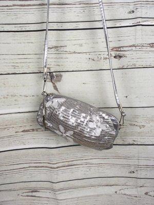 Silber Pailletten Clutch Tasche Handtasche Klein