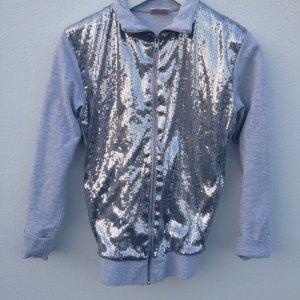 Silber Pailletten Zipper Party Jacke Sweatshirt Jacket Silver