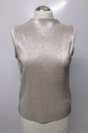 Silber Plissee Top Shirt Esmara Größe M 38 Turtelneck Party Glanz Glitzer Faltentop