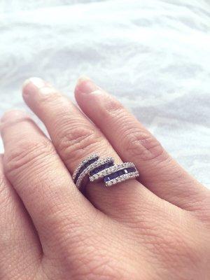 Silber Ring 925 mit blau/ weiß Zirkonia