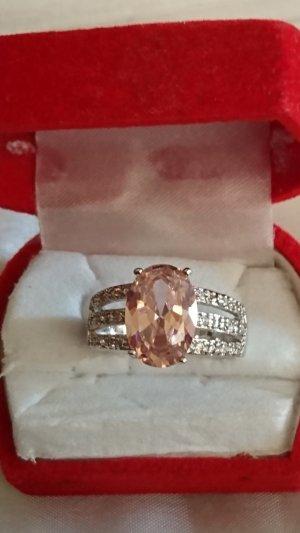 Silber Ring 925 mit  rosa Zirkonia Stein Gr.18 .