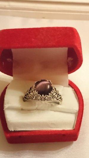 Silber Ring aus 925 filigran Tier Auge Amethyst Gr .19