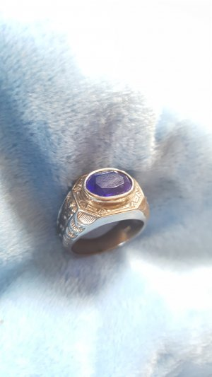 Silver Ring silver-colored-dark blue real silver