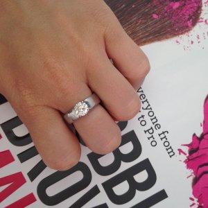 Silber Ring mit Diamant 925 Silber Gr 52-54