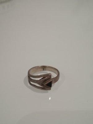 Silber Ring mit schwarzem Detail