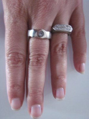 Silber Ring mit Zirkonia  in blau matt