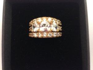 Silber-Ring rotgold plattiert mit Swarovski-Kristallen, Gr. 53