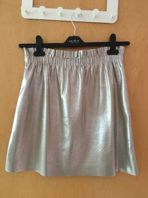 Zara Faux Leather Skirt silver-colored