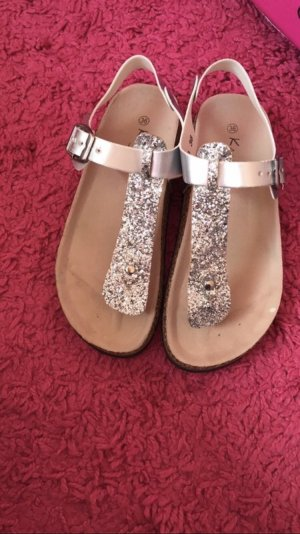 High-Heeled Toe-Post Sandals silver-colored-light grey