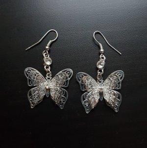 Silber Schmetterling Ohrringe Ungetragen Neuwertig
